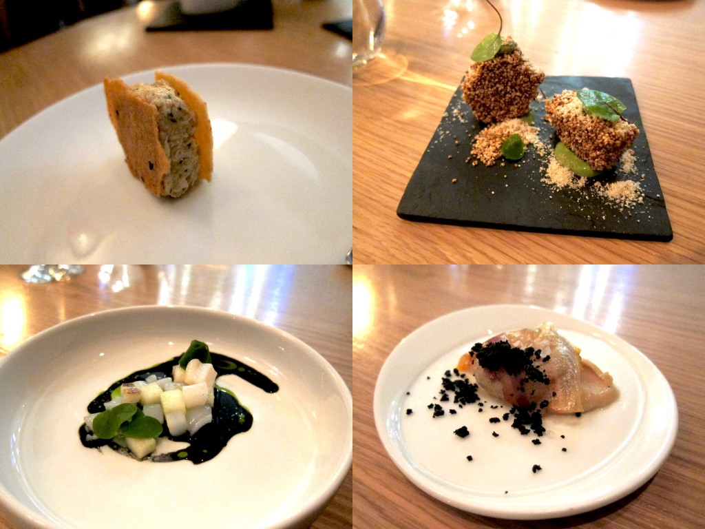 Thai Explosion, Amaranth with Sorrel, Squid with Ink and Apple, Young Potato with Yeast and Olive
