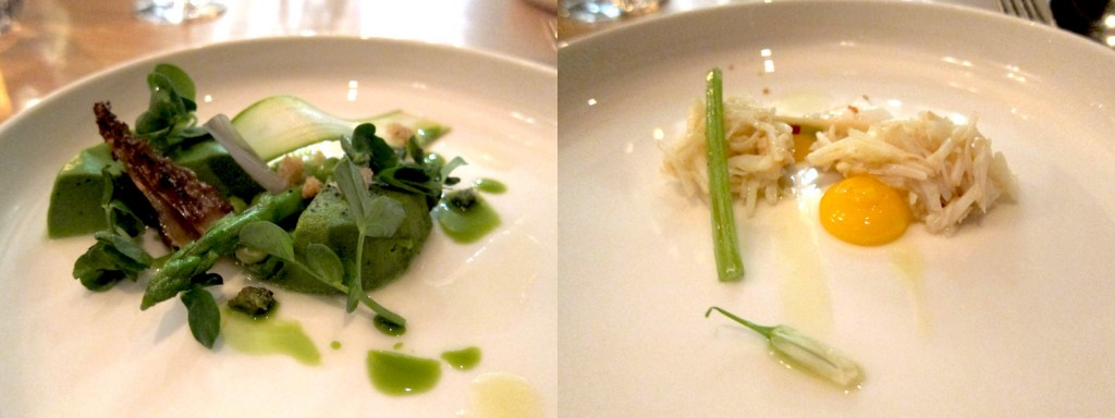 Pea Custard with Morels and Onion and Crab with Egg Yolk and Rhubarb