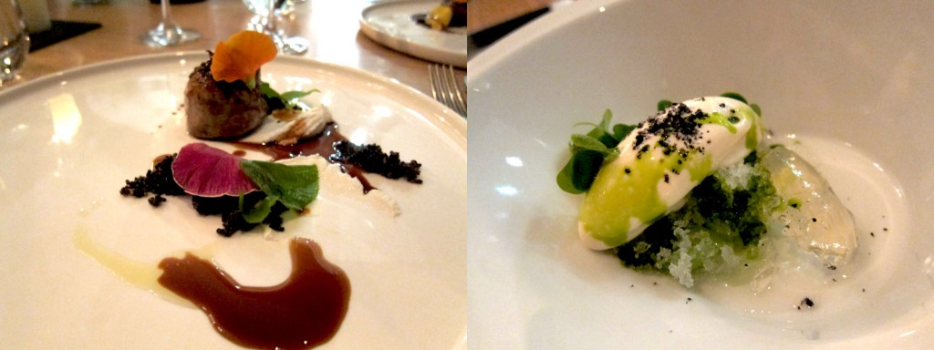 Dehesa Lamb with Goat's Curd and Black Quinoa followed by Pickled and Raw Cucumber with Reduced Milk Sorbet