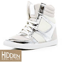 white and silver hightops