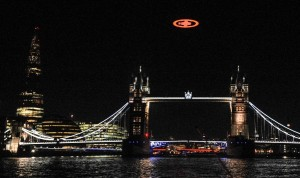 Halo glyph above the tower bridge on the evening of 5th November.