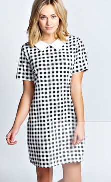 Laura checked collar print dress from Boohoo