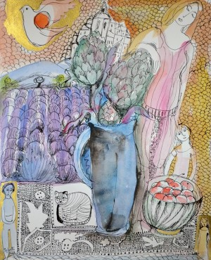 The artichoke and mother and child in Provence