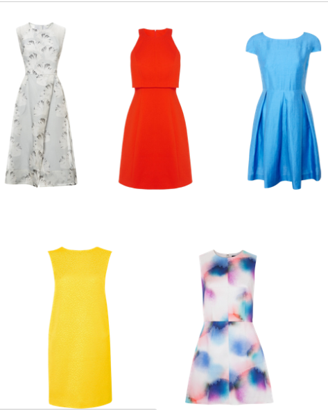 (From the top left to right) Whistles palm-print organza dress in pale grey £195; Karen Millen double layer bodice A-line dress £145; Weekend by MaxMara A-line linen dress £225; L K Bennett Vina backless dress £225; French Connection soft spray flared dress £150.