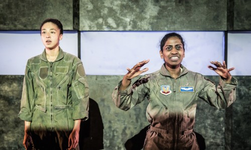 l-r Charmaine Wombwell and Nadia Nadarajah in Deafinitely Theatre's Grounded, Park Theatre (c)Marc Brenner (3)