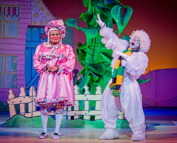 Jack and the Beanstalk - Hackney Empire - 21 November 2015  Writer/Director - Susie McKenna Designer - Lotte Collett Lighting Designer - David W Kidd Music - Steven Edis Musical Director - Mark Dickman Choreographer - Carl Parris  Dame Daisy Trott - Clive Rowe Jack - Debbie Kurup Snowman - Kat B Stomach Bug - Jocelyn Jee Esien Mother Nature - Julia Sutton Clumsy Colin - Darren Hart Off Her Trolly Molly - Georgia Oldman Goldiniah - Lori Barker Giant Blunderbore - Leon Sweeney