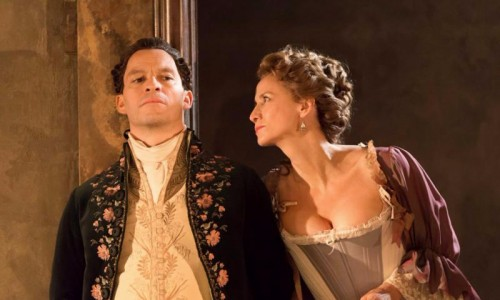 Dominic West (Le Vicomte de Valmont) and Janet McTeer (La Marquise de Merteuil) in Les Liaisons Dangereuses at the Donmar Warehouse - photo by Johan Persson