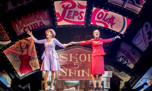 CFTguysdolls2014JP-07190-Sophie Thompson (Miss Adelaide) and Clare Foster (Sarah Brown) Photo Johan Persson (1)