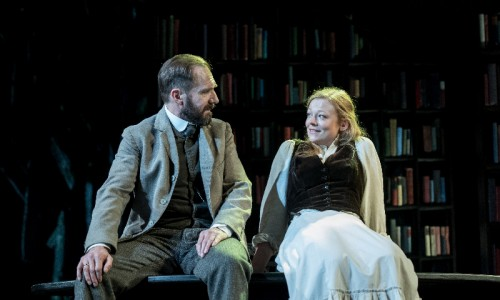 Ralph Fiennes (Halvard Solness) and Sarah Snook (Hilde Wangel) in The Master Builder at The Old Vic. Photos by Manuel Harlan.