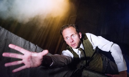 Christopher Godwin and Tom Godwin in Woman In Black @ Fortune Theatre. (Opening 07-15) ©Tristram Kenton 07/15 (3 Raveley Street, LONDON NW5 2HX TEL 0207 267 5550  Mob 07973 617 355)email: tristram@tristramkenton.com