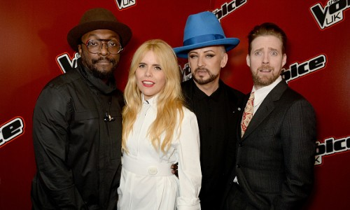 LONDON, ENGLAND - MARCH 23:  (L-R) will.i.am, Paloma Faith, Boy George, and Ricky Wilson attend The Voice UK Open Mic Night at The Scotch of St James on March 23, 2016 in London, England.  (Photo by David M. Benett/Dave Benett/Getty Images)
