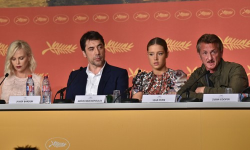 "CANNES, FRANCE - MAY 20: Charlize Theron, Javier Bardem, Adele Exarchopoulos and director Sean Penn attend the ""The Last Face"" Press Conference during the 69th annual Cannes Film Festival at the Palais des Festivals on May 20, 2016 in Cannes, France.  (Photo by Clemens Bilan/Getty Images)"