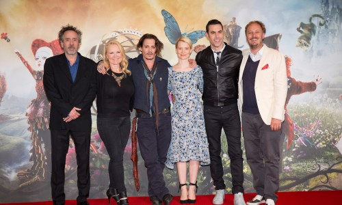 """London UK : The stars of Disney's """"Alice Through The Looking Glass"""" including Jonny Depp, Mia Wasikowska and Sacha Baron Cohen along with producers Tim Burton and Suzanne Todd and director James Bobin at the photocall in London on Sunday, May 8. (Credit : James Gillham / StingMedia for Disney)"""