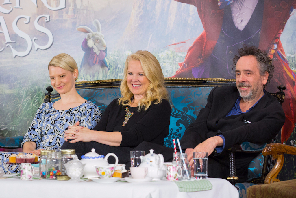 "London UK : Mia Wasikowska, Suzanne Todd and Tim Burton at the press conference in London of Disney's ""Alice Through The Looking Glass"" on Sunday, May 8. (Credit : James Gillham / StingMedia for Disney)"