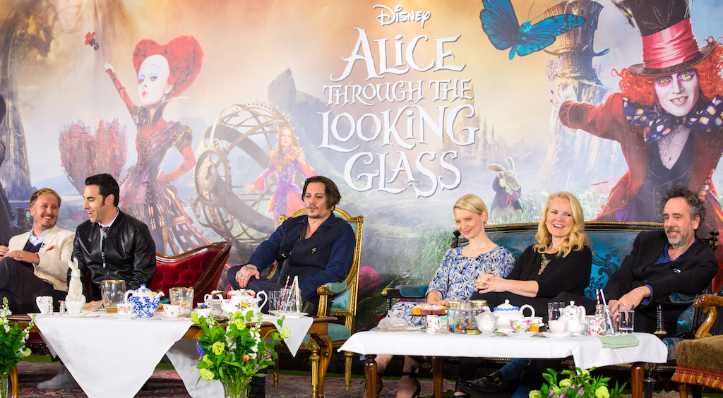 "London UK : The stars of Disney's ""Alice Through The Looking Glass"" including Jonny Depp, Mia Wasikowska and Sacha Baren Cohen along with producers Tim Burton and Suzanne Todd and director James Bobin at the press conference in London on Sunday, May 8. (Credit : James Gillham / StingMedia for Disney)"