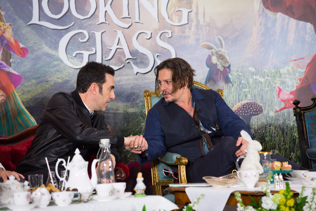 "London UK : The stars of Disney's ""Alice Through The Looking Glass""  Jonny Depp and Sacha Baren Cohen at the press conference in London on Sunday, May 8. (Credit : James Gillham / StingMedia for Disney)"