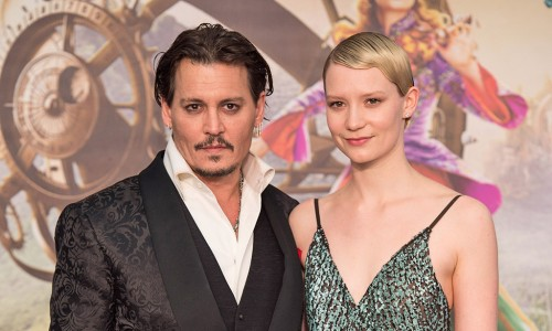 """LONDON UK : Johnny Depp and Mia Wasikowska attend the European Premiere of Disney's """"Alice Through The Looking Glass"""" in London on 10th May 2016. (Credit : James Gillham / StingMedia)"""