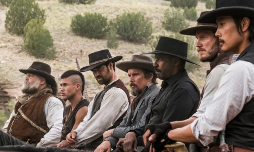(l to r) Vincent D'Onofrio, Martin Sensmeier, Manuel Garcia-Rulfo, Ethan Hawke, Denzel Washington, Chris Pratt and Byung-hun Lee star in MGM and Columbia Pictures' THE MAGNIFICENT SEVEN.