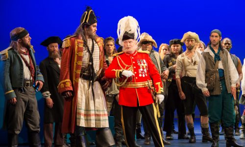 Andrew Shore as the Major General  and Ashley Riches as the Pirate King in the Pirates of Penzance, performed by the English National Opera. 7th Feb 2017, London Coliseum, Britain.