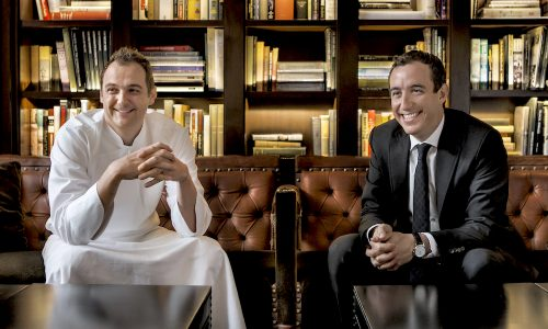Co-owners Daniel Humm and Will Guidara in the library of The NoMad Restaurant, NYC