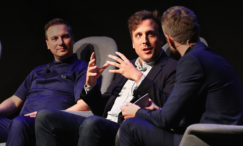 (L-R)  Tim Raue, Brian McGinn and Jochen Schropp are seen on stage at the Documentary Panel during the Netflix See What's Next Event at WECC on March 1, 2017 in Berlin, Germany.