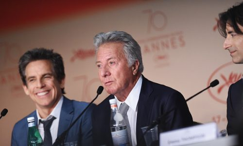 "CANNES, FRANCE - MAY 21:  Ben Stiller, Dustin Hoffman and Director Noah Baumbach attend ""The Meyerowitz Stories"" press conference during the 70th annual Cannes Film Festival at Palais des Festivals on May 21, 2017 in Cannes, France.  (Photo by Stephane Cardinale - Corbis/Corbis via Getty Images)"