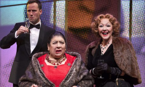 Jonathan Forbes, Miriam Margolyes & Frances Barber (l-r) in Madame Rubinstein at Park Theatre. Photo by Simon Annand 117