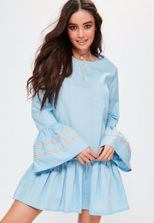blue-ruffle-hem-oversized-trim-cuff-dress